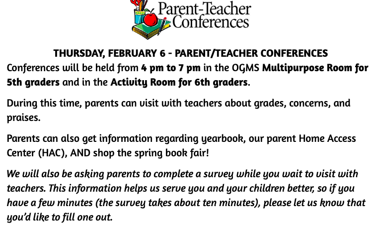 3rd Nine Weeks Parent/Teacher Conferences