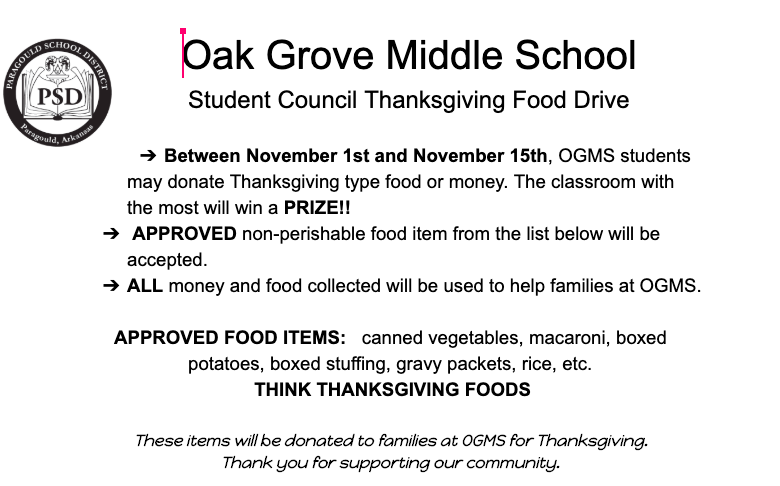 Student Council Thanksgiving Food Drive