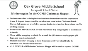It's time for the OGMS Christmas Shoppe!