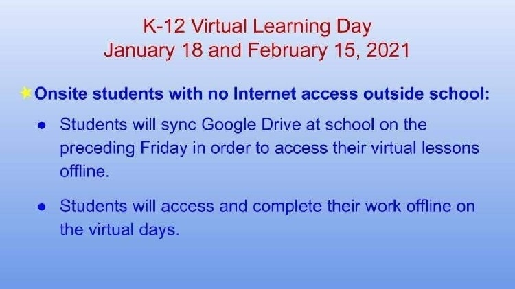 virtual day explanation, students with no home internet (repeated in post)
