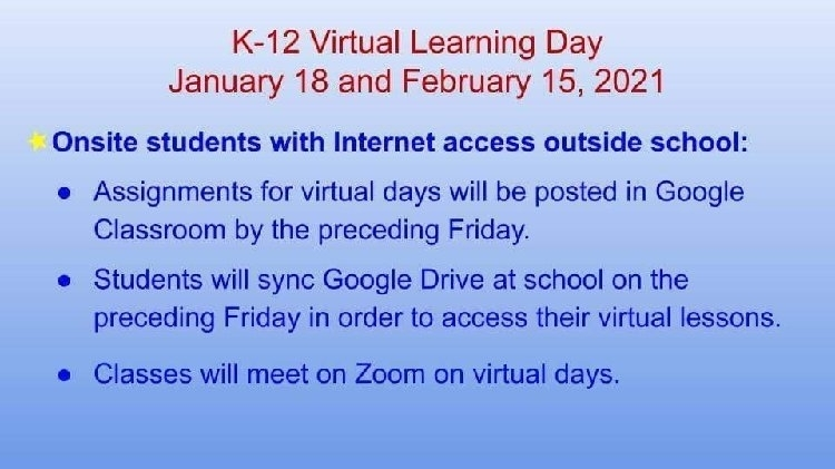 virtual day explanation, students with home internet (repeated in post)