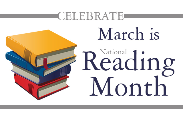 Stack of books - March is National Reading Month