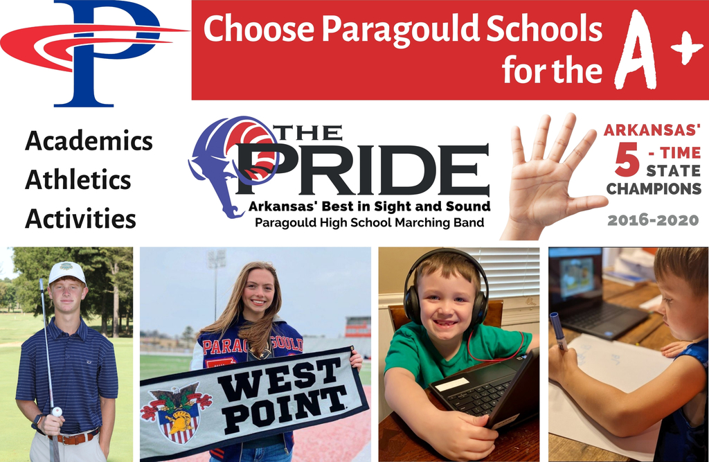 PSD school choice ad: students working on computers, state champ golf student, 5-time state champ marching band, West Point signee