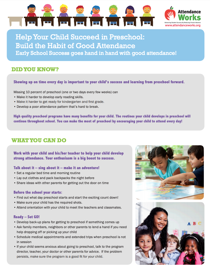 Flyer about the important of good attendance in preschool
