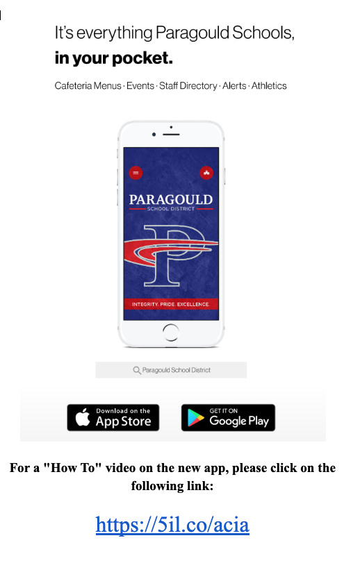 Flyer about the Paragould Schools App