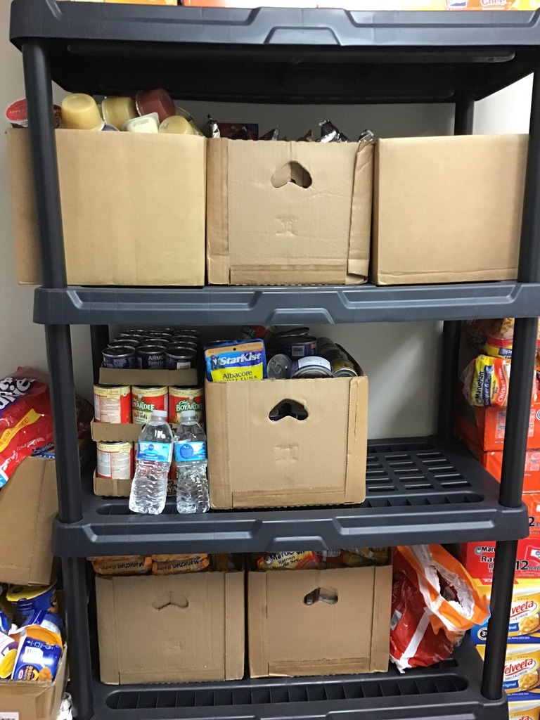 Boxes of food in our backpack pantry
