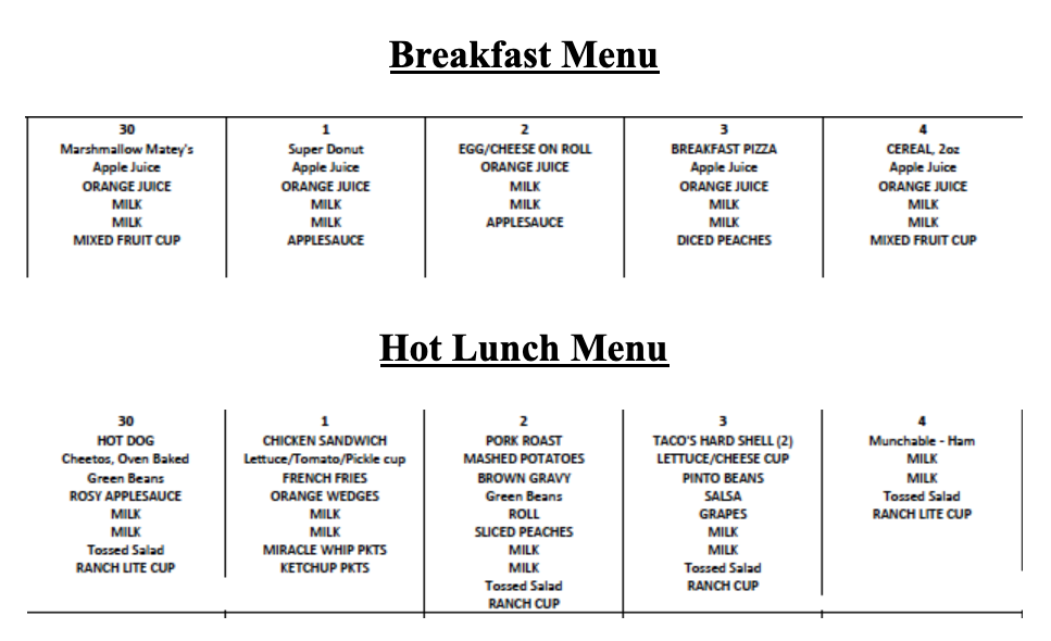 Lunch and Breakfast Menus