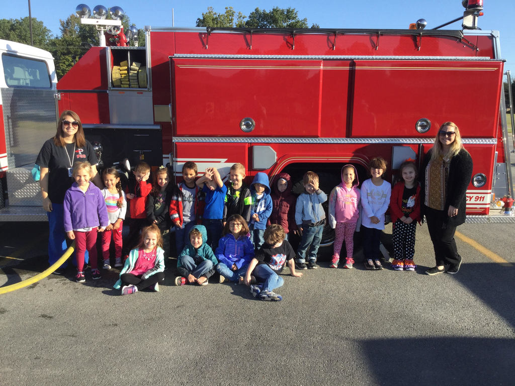 Posing with the fire truck