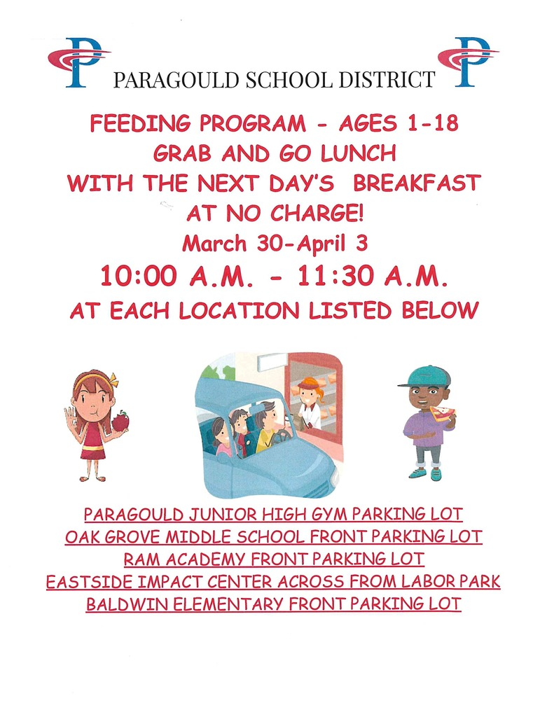 PSD feeding program for March 30-April 3
