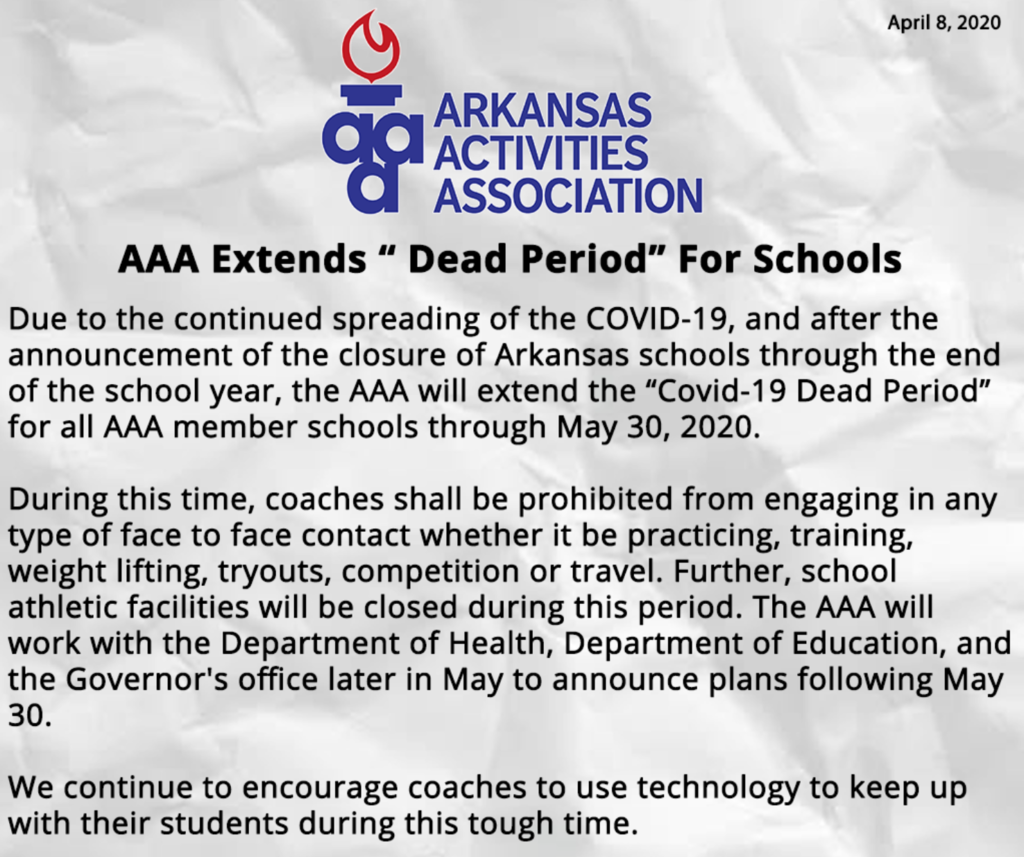AAA Extends Covid-19 Dead Period For Schools